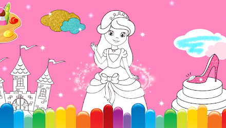 Princess Coloring Book Glitter & Girls Dress Up